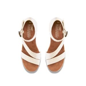 TOMS Cream Cork Wedge Sandals